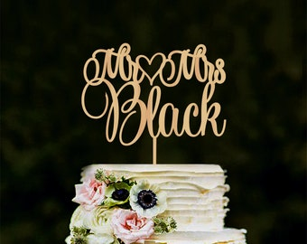 mr mrs wedding cake topper custom last name personalized wood cake topper rustic wedding gold cake topper