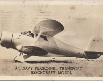 Vintage RPPC Real Photo Postcard WWII U.S. Navy Aircraft Personnel Transport Beechcraft Model Postmarked 1944 Military Memorabilia