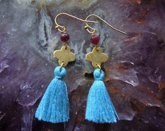 Gold Tassel Earrings / Ruby Earrings