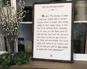 Velveteen Rabbit 20 x 28 Wood Framed Sign