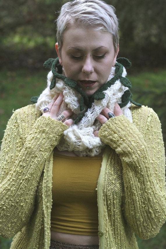Knit woodland chunky white cowl/hood with wet-felted leaves and vines for your inner sprite.