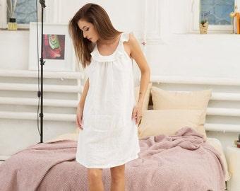Softened linen night dress. Stonewashed linen night gown.