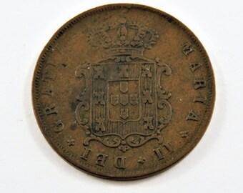 Portugal 1852 5 Reis Coin.