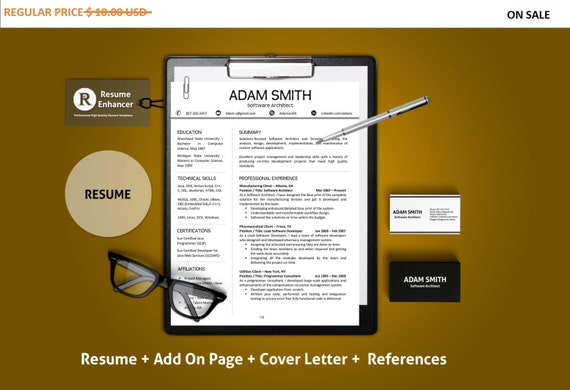80% OFF SALE Resume Template | CV Template with add-on for extra pages, Cover and Reference Letters in Word format | Instant Download