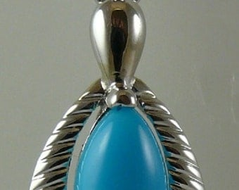 Reconstituted Turquoise and Blue Topaz 0.76 ct Pendant 14K White Gold