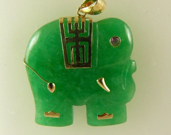 Green Jade Elephant Pendant 14k Yellow Gold