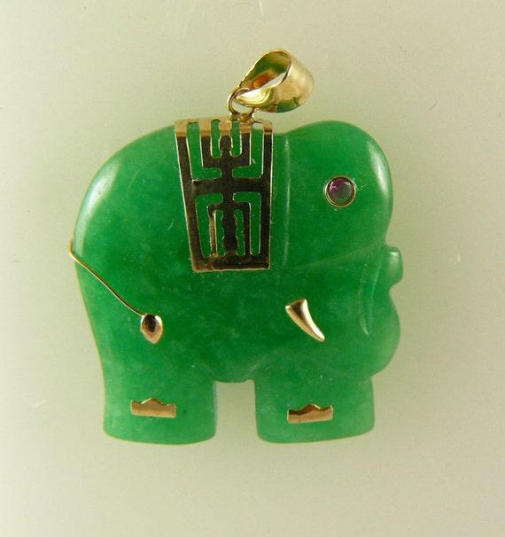 Green Jade Elephant Pendant 14k Yellow Gold
