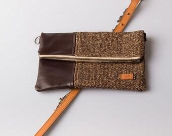 fold over bag / folded leather bag/