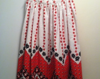 Summer Skirt in White, Red, and Black, Peasant, Dirndl, Rockabilly