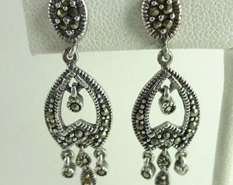 Vintage Sterling Silver 925 Marcasite Chandelier Earrings, Drop Dangle Pierced Earrings