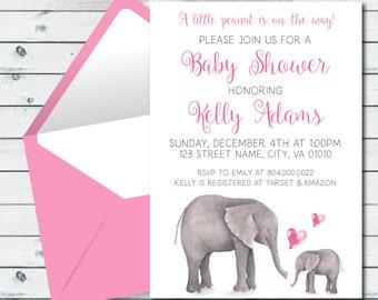 Pink Elephant Baby Shower Invite, Printable Elephant Baby Shower Invitation, Little Peanut Invite, Baby Shower Invitation In Pink Printable