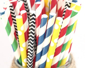Superhero party straw mix-superhero straw mix, superhero straws, kids party straws