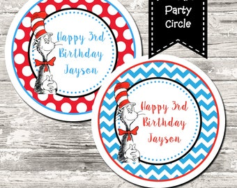 Dr Seuss Birthday Party Cupcake Toppers Circle Tag Digital Printable