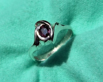 Genuine Ruby Ring, July's Birthstone ring, Freeform bezel set Sterling Silver ring.