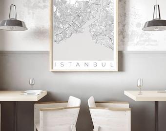 Map of Istanbul, Turkey - Istanbul Decor - Map ART - Turkey Poster  - Office Decor - Scandinavian Art - Istanbul Travel Poster - Ikea Poster