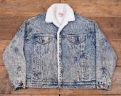 Mens Vintage 80s Levis Red Tab Sherpa Denim Trucker Jacket Blue L 44 R4701