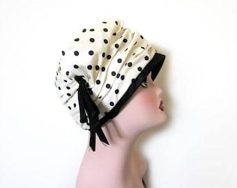 Vintage 1960's Black/White Polka Dot Turban~ Kelton Original