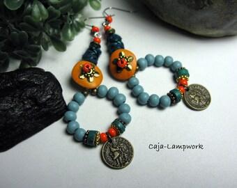 Gypsy earrings, loop earrings, petrol, turquoise, orange