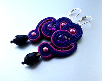 Soutache Earrings plum,  fuchsia colors- Soutache earrings  -  Handmade Earrings