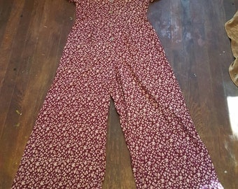 Vintage Floral Red Wide Leg Jumpsuit