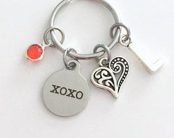 XOXO KeyChain Love Keyring, Gift for Girlfriend Fiance Wife Anniversary Daughter Key chain Jewelry Initial Birthstone birthday present niece