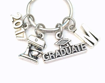 Pastry Chef Graduation Present for Cook Keychain, 2017 2018 Culinary Key Chain, Graduate Grad Keyring with Initial letter, Cooking Him Her