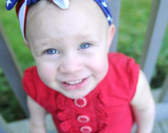 American Flag Headband, Baby Turban, Fourth of July Headband, Toddler Turban, Baby Headband, USA Outfit, Bow, 4th of July, Stars and Stripes