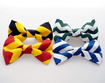 Striped Attachable Bow Ties for Dogs & Cats - Harry Potter Hogwarts Houses inspired, Gryffindor/Hufflepuff/Ravenclaw/Slytherin