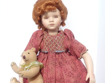 Pauline Bjonness Jacobsen Porcelain Doll, !2'' Porcelain Collectible Doll