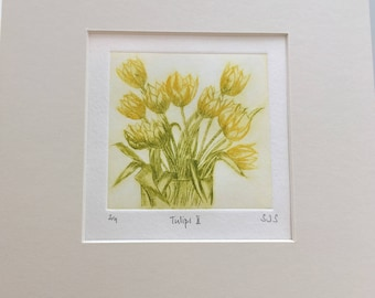 Tulips Print - Original Limited Edition Etching, tulip picture, vase of tulips, original limited edition print, tulip etching