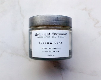 Coconut-Banana-Tapioca-Rice Powder French Yellow Clay / Soothing and Brightening French Clay Mask / Sensitive Skin Vegan Mask 1.7 oz / 50 mL