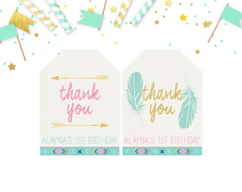 Boho Favor Tags, Wild One Favor Tags, Gold Arrow Thank You Tags, Tribal Pink Mint Baby Shower Birthday Favor Tag, Feathers, Printable