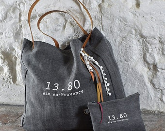 Tote XL grey white Collection CABA