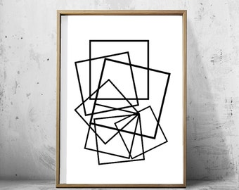 Geometric Art Print Black and White Lines Drawing Abstract Art Print Large Printable Poster Monochrome Scandinavian art Nordic Style Modern