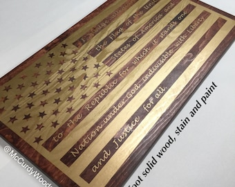 American Flag with Pledge of Allegiance 2 Foot