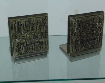 Paul Evans Style Brutalist Bookends