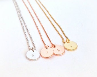 Initial necklace, letter necklace, engraved necklace, disc necklace, handstamped, personalized disc necklace, silver necklace, gold necklace