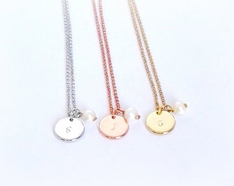 Pearl initial necklace, initial necklace with pearl, engraved necklace, disc necklace, handstamped, personalized disc necklace, bridesmaid