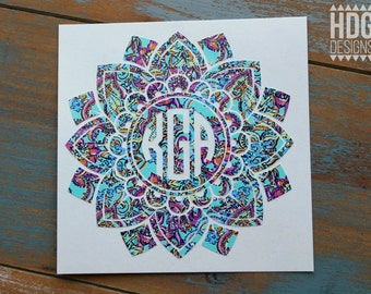 Flower Decal - Monogram Decal - Vinyl Decal - Mandala Decal - Monogram Sticker - Lilly Monogram - Yeti Decal - Car Decal - RTIC decal