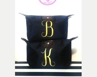 Initial Makeup Bag, Bridesmaid Gift, Maid of Honor Gift, Personalized Gift, Makeup Bags, cosmetic bags, tote bag,