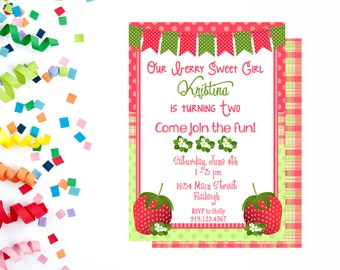 Strawberry Invitation, Strawberry Birthday Party, Summer Invitation, Strawberries,  Printable, Sweet Birthday Party