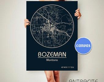 BOZEMAN Montana CANVAS Map Bozeman Montana Poster City Map Bozeman Montana Art Print Bozeman Montana poster Bozeman Montana