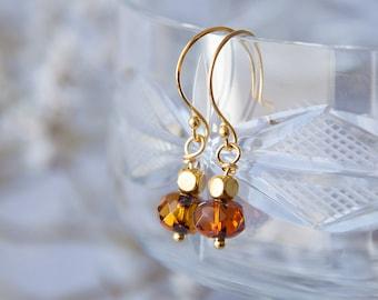 Tiny Boho Earrings, Faceted Amber Earrings, Boho Earrings, Dark Topaz Earrings, Boho Chic Earrings, Boho Style Earrings, Tiny Drop Earrings