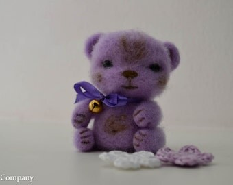 Needle felted bear toy Felted toy Wool bear Felted animals Wool toy Lilac bear toy Animal figure toy Original and cute gift for her