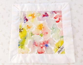 Watercolor Flowers (Yellow) Lovie / Lovey, Personalized Baby Lovie, Small baby Blanket, Satin Lovey Blanket, Lovie Blanket, Security Blanket