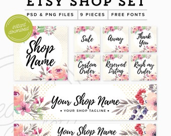 Etsy Shop Set 9 Pieces - Branding Package Premade Etsy Branding Kit - PSD Etsy Set - Feminine Floral Marketing Kit, PSD Etsy Shop Graphics
