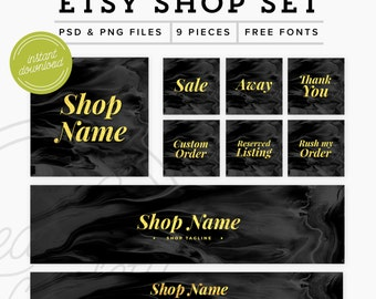 Etsy Shop Set 9 Pieces - Branding Package Premade Etsy Branding Kit - PSD Etsy Set - Black & Gold Marketing Kit, PSD Etsy Shop Graphics