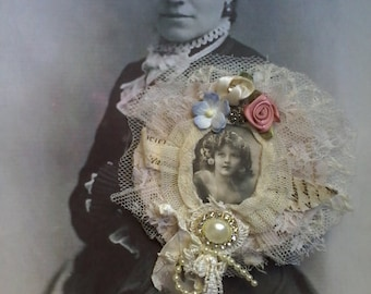 tattered shabby brooch,vintage portrait pin,handmade lace brooch, romantic gift,