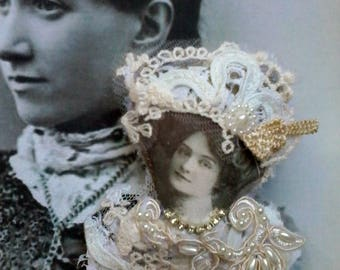 unique hand made victorian portrait image embellished brooch,
