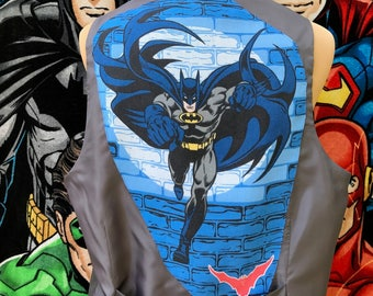 Batman Vest- Batman Shirt- Batman Gift- Comics Shirt- Vintage DC Comics Batman Fabric- Upcycled- Size Chest 46 inches
